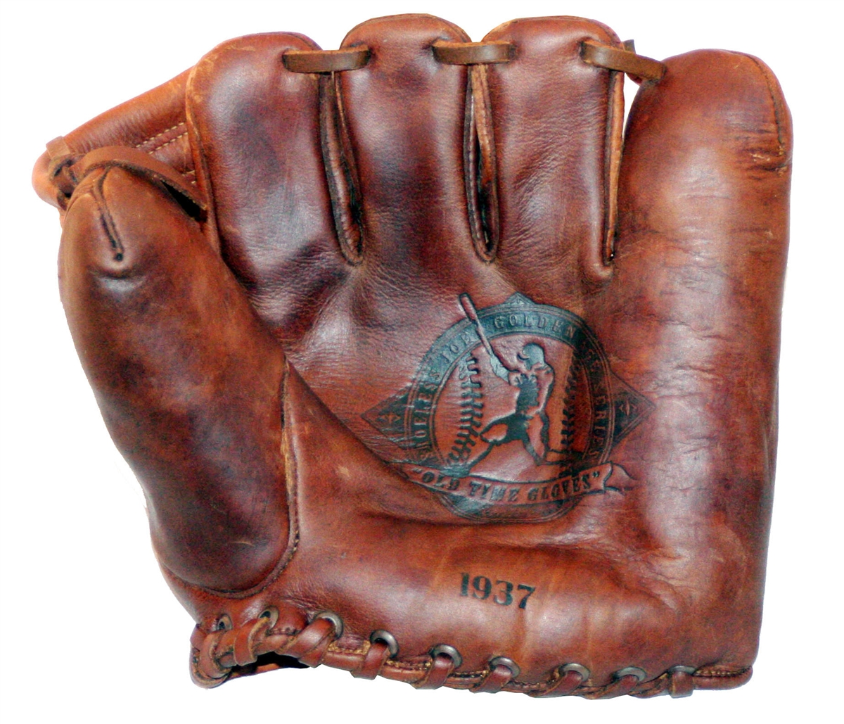 A baseball glove or mitt is a large leather glove worn by baseball players of the defending team, which assists players in catching and fielding balls hit by a batter or thrown by a teammate.